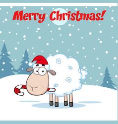 christmas sheep cartoon character vector image vector image