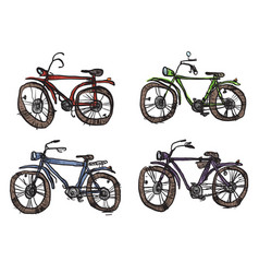 four bicycles a primitive style vector image