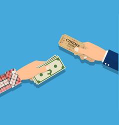 People holding ticket money in hands vector
