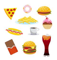 set harmful foods chocolate and cola hamburger vector image vector image