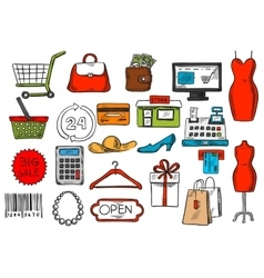 Shopping and retail sketch isolated icons vector image vector image