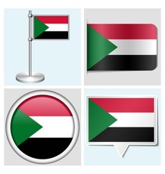 Sudan flag - sticker button label flagstaff vector image vector image