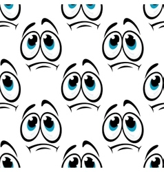 Comics faces with sad eyes seamless pattern vector image vector image