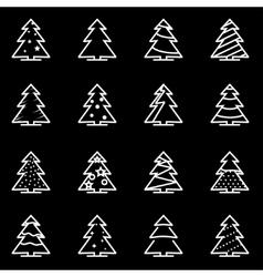 line christmas tree icon set vector image vector image