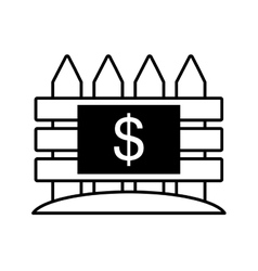 real estate fence price dollar outline vector image