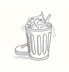 Sketched full trash bin desktop icon vector image