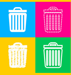 trash sign four styles of icon on vector image