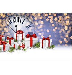 2017 new year background with gifts vector