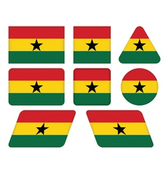 buttons with flag of Ghana vector image vector image