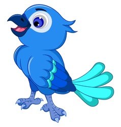 Cute blue bird posing vector