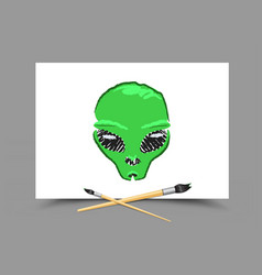 drawing alien on white paper vector image