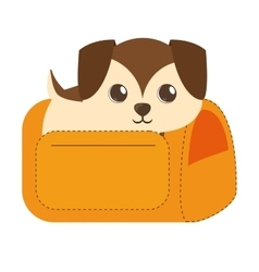 puppy little brown yellow pet carrier traveling vector image vector image