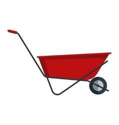 Red flat gardening wheelbarrow isolated on white vector image vector image