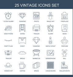 25 vintage icons vector image