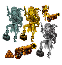 A set of statues of a girl pirate made of stone vector