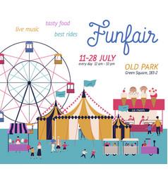 amusement park poster with circus ferris wheel vector image