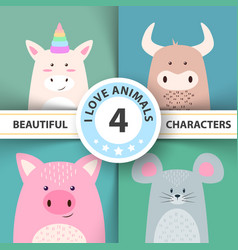 animal characters unicorn bull pig mouse vector image
