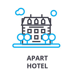 apart hotel thin line icon sign symbol vector image