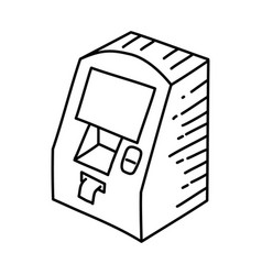 atm icon doodle hand drawn or outline icon style vector image
