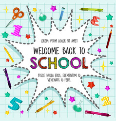 back to school sationery pattern poster vector image