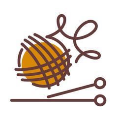 Ball woolen threads and long needles vector