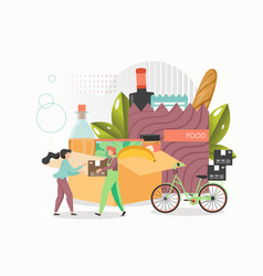 bicycle food delivery flat style design vector image
