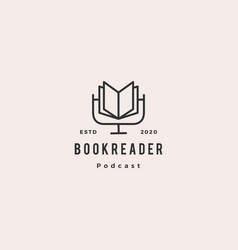 Book podcast logo hipster retro vintage icon vector