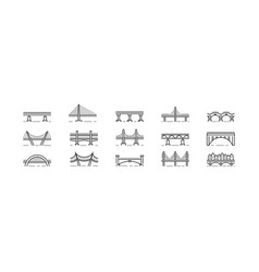 bridge line art icon set isolated vector image