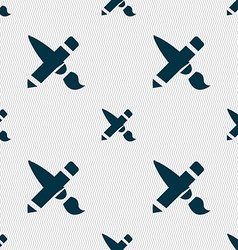 Brush Icon sign Seamless pattern with geometric vector