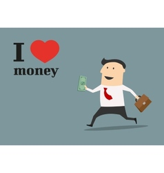 Businessman running with money and briefcase vector