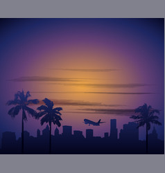 Calirfornia city sunset cityscape los angeles vector