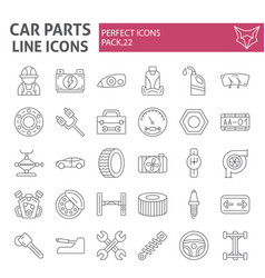 car parts thin line icon set automobile symbols vector image