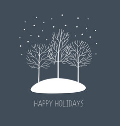 card with hand drawn winter trees under vector image