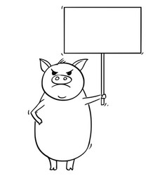 cartoon angry pig holding empty sign vector image