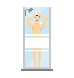 cartoon character man washes in the shower vector image