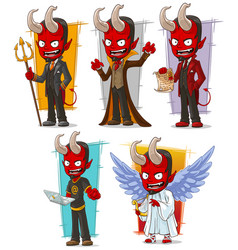 cartoon devils and evil angel character set vector image