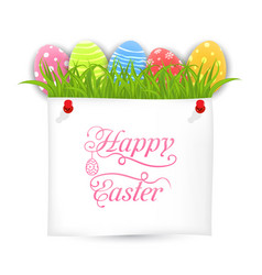 Celebration postcard with easter ornamental eggs vector