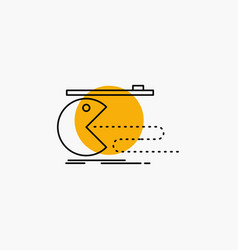 Character computer game gaming pacman line icon vector