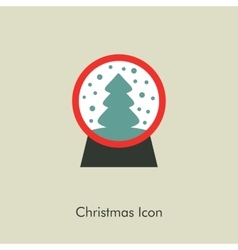 Christmas snow globe with a tree inside vector