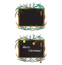 Christmas wreath and black board with chalk vector