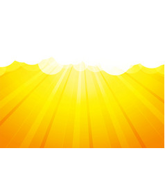 clouds with rays yellow background vector image