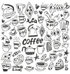 coffee cups - doodles set vector image
