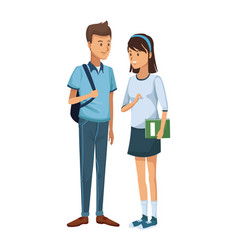 Colorful couple students standing of boy with vector