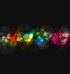 Colorful geometric hexagons tech background vector