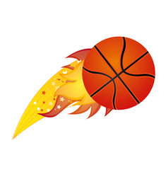 Colorful olympic flame with basketball ball vector