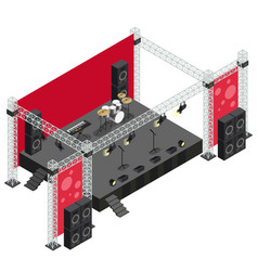 Concert stage in isometric vector
