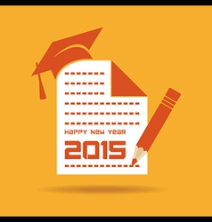 creative New Year 2015 design with education vector image