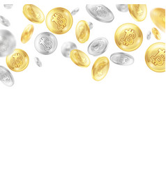 Crypto currency coins realistic background vector