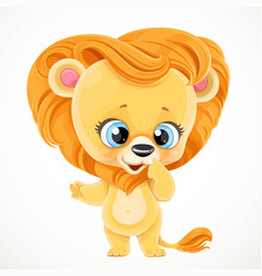 cute cartoon baby lion isolated on a white vector image