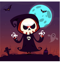 cute cartoon grim reaper with scythe poster vector image